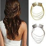 5starwarehouse® A012 - Collana con fermaglio per capelli, da donna, in argento o oro