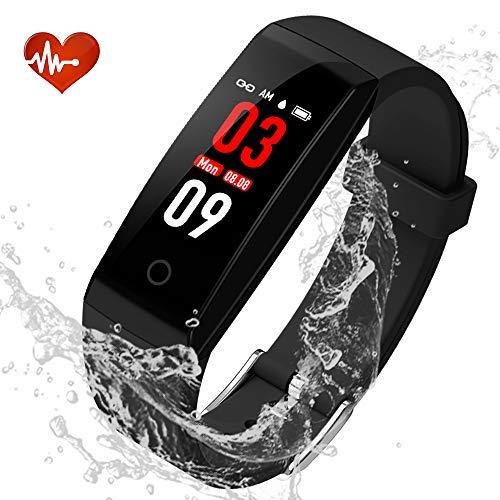 Youngdo Fitness Tracker/Fitness Armband mit Farbe-Touchscreen, Wasserdicht IP67 für genaue Herzfrequenzmessung und Schlafüberwachung (W8) - Touch-screen-wecker