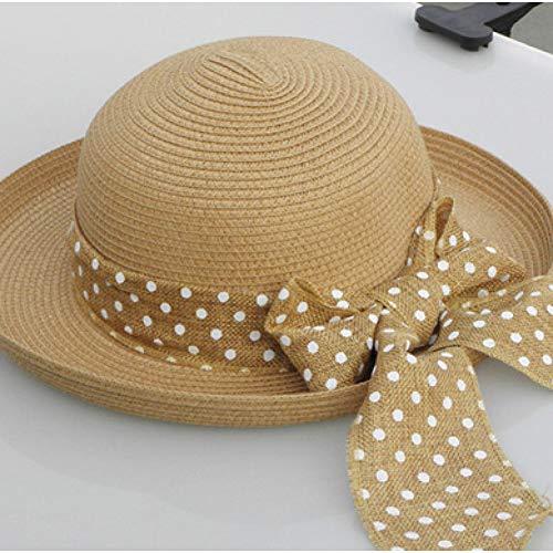 MUBFT Sonnenhut Bowknot Strohhut Sommer Frauen Einstellbare Floppy Hats Damen Sun Beach Visor Cap