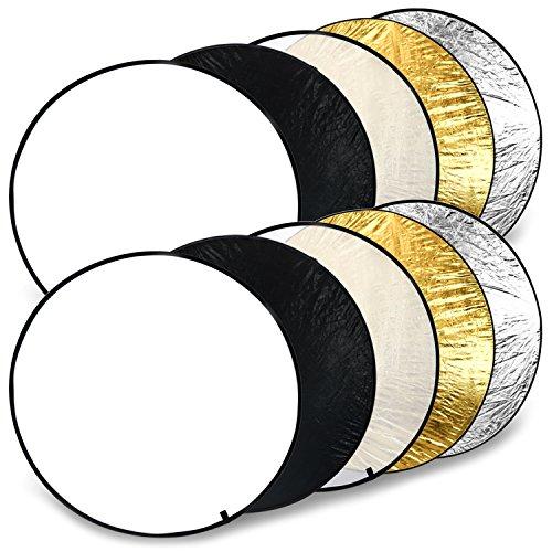 com-four® 2X 5 in 1 Falt-Reflektor Ø 110 cm, runder Licht-Reflektor in weiß, schwarz, transparent, goldfarben, silberfarben für perfekte Foto-Ausleuchtung (6-teilig)
