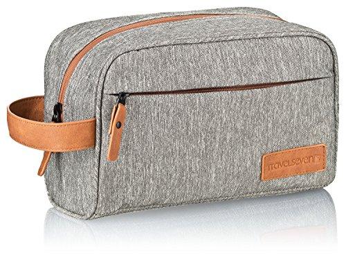 Premium Kulturbeutel XL hellgrau für Damen und Herren - geräumige Kulturtasche und Kosmetiktasche mit vielen Verstaumöglichkeiten - perfekt für lange Reisen - wasserabweisend, robust - Travelseven