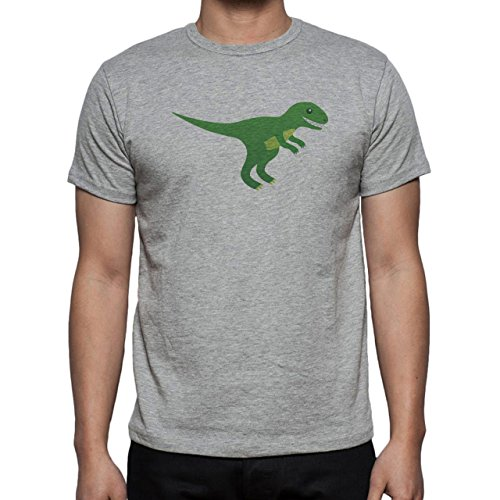 Dinosaur Rex Green Smiling Teeth Herren T-Shirt Grau