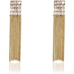 Shining Diva Party Wear 18k Gold Plated Austrian Diamond Long Tassel Traditional Earrings For Women & Girls