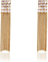 Shining Diva Party Wear 18k Gold Plated Austrian Diamond Long Tassel Traditional Earrings For Women & Girls (Golden) (7459er)