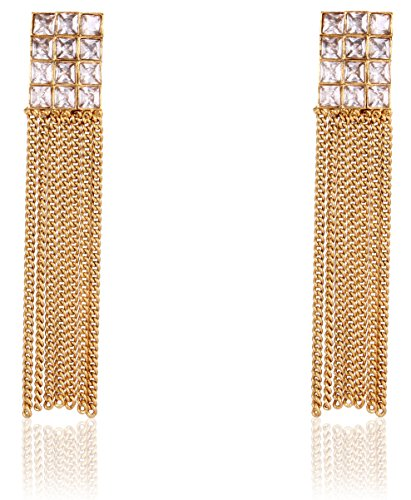 Shining Diva Party Wear 18k Gold Plated Austrian Diamond Long Tassel Traditional Earrings For Women & Girls