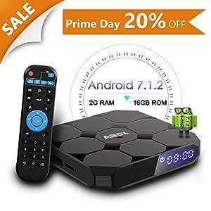Android 7.1 TV Box, Abox A1 Max 64 Bit Viererkabel-Kern Intelligenter Fernsehkasten Amlogic S905w mit 2GB RAM 16GB ROM unterstützt 1080p/4K Volles HD