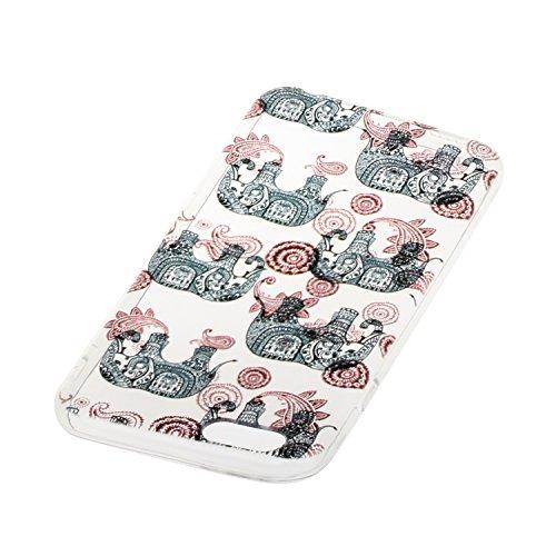 Etsue TPU Schutzhülle für iPhone 6 Plus/6S Plus Silikon Handyhülle Case Cover, iPhone 6 Plus/6S Plus Muster Ultradünnen Weiche Kristall Klar Durchsichtig Rückseite Tasche Etui Bumper Kratzfeste, Einzi Mandala Elefant