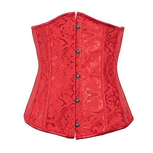 FeelinGirl Damen Korsage Unterbrustkorsett Satin Bauchweg Corsage Waist Cincher Top Tailenmieder Dessous XS Red (Bustier Satin Dessous)