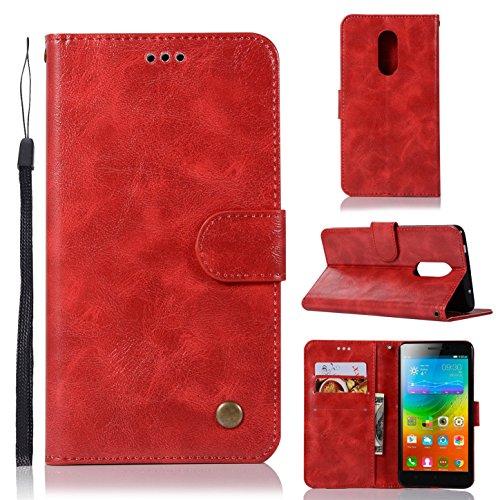 sinogoods Für Lenovo K6 Note/K53a48 Hülle, Premium PU Leder Schutztasche Klappetui Brieftasche Handyhülle, Standfunktion Flip Wallet Case Cover - Rot