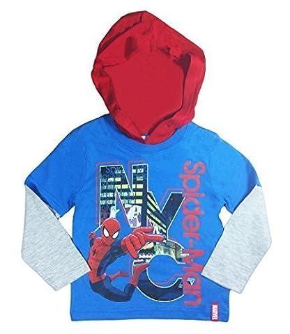 Spiderman Manches Longues Haut À Capuche T-Shirt bleu - Bleu, 104cm, 3-4 ans