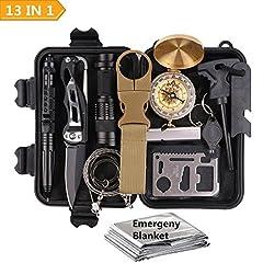 Idea Regalo - Kit di Sopravvivenza Multiuso,13 in 1 Survival kit ,Usato per Esterna First Aid Kit Per Gli Sport all'aria Aperta, Campeggio, Alpinismo, ecc