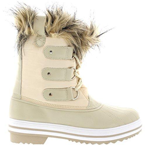 Damen Pelz Cuff Schnüren Gummisohle Short Winter Schnee Regen Schuh Stiefel Beige Nylon