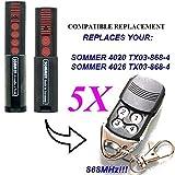 5x Sommer 4020TX03–868–4Kompatibel 868,8MHz Fernbedienung Ersatz, 868,8MHz. TOP QUALITÄT Slider Transmitter. 100% kompatibel mit 868,8MHz Sommer-Fernbedienung. Rolling Code.