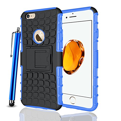 Apple iPhone 7Plus, Armor Case Tough Rugged Shock proof Armorbox Dual Layer Heavy Duty Carrying Hybrid Hard Slim Protective Case For iPhone 7 (with Kickstand) + Big Touch Pen + Screen Protector-White Blue