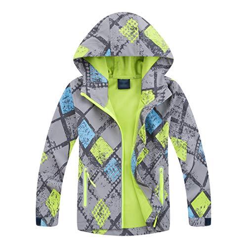 LAUSONS Jungen Softshelljacken für Kinder Windjacke Regenjacke Wasserdicht Übergangsjacke mit Kapuze Größe XL