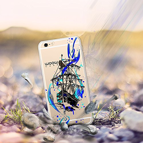 iPhone 6 Plus | 6S Plus Hülle, WoowCase® [ Hybrid ] Handyhülle PC + Silikon für [ iPhone 6 Plus | 6S Plus ] Hund Fußabdruck Handytasche Handy Cover Case Schutzhülle - Transparent Hybrid Hülle iPhone 6 Plus | 6S Plus H0016