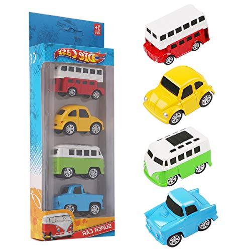 PROACC 4 Stück Spielzeug Auto Spielzeug, Baustellenfahrzeug, Mini-Legierung Fahrzeug-Set, Pull Back and Go LKW Spielzeug Zum Kinder Jungen Geschenk (A)