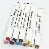 TOUCHFIVE Markers Peinture Feutre Indélébile Stylo Lot de 10 marqueurs de dessin à double pointes 1mm / 6mm Brush (Blanc)