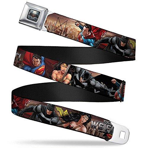 Justice League Trinity Group Together We Fight Sicherheitsgurt Batman Logo Belt Buckle