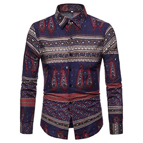 JJggsi4 T-Shirt Uomo Magliette Uomo Camicia Uomo Hawaiana Camicia Uomo Perfect Tee Camicia Henley Allentata Colorata Etnica da Uomo