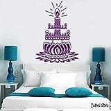 Kunstmuster Lotus Wandaufkleber Kerzen Buddhistische Meditation Wandaufkleber Schlafzimmer Abnehmbare Kunstwand Wohnzimmer 31 Violett 56x80cm