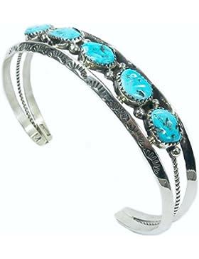 Indianerschmuck Armspange für Herren aus Sterling Silber - Kingman Turquoise