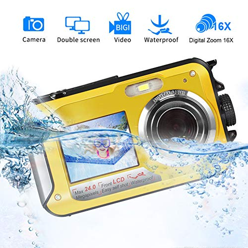 Unterwasserkamera Schnorcheln 24,0 MP Digitalkamera Wasserdichte Float Full HD 1080P Dual Screen Unterwasser Kamera