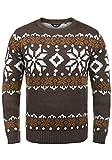 !Solid Norwig Herren Weihnachtspullover Norweger-Pullover Winter Strickpullover Grobstrick Pullover mit Rundhalsausschnitt, Größe:XL, Farbe:Coffee Bean Melange (8973)