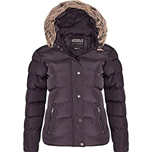 e9a7f180ebb Spindle Women s Designer Hooded Short Parka Jacket Quilted Padded Coat Zip  Pockets Womens