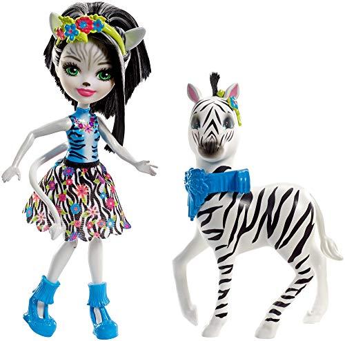 Enchantimals Mini-poupée articulée Zelena Zèbre et Grande Figurine Animale Hoofette, aux cheveux noir et blanc avec jupe en tissu, jouet enfant, FKY75