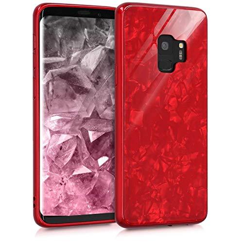 AIsoar Custodia per Galaxy S9 Plus/+ Cover + Vetro Temperato Case Posteriore+Ultra Thin Slim Trasparente TPU Silicone Modello Custodia Antiurto Antigraffio Brillante Shell Rosso (red)