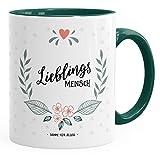 MoonWorks Geschenk-Tasse Kaffee-Tasse Lieblingsmensch Danke Liebe Freundschaft Familie Tasse Innenfarbe grün Unisize