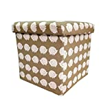 #6: Sterling Foldable Cotton Ottoman Storage Box Cum Stool - with Hedgehog Pattern Foldable Stool
