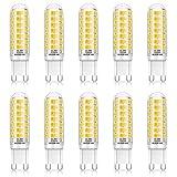 GLIME G9 LED Lampen 6W 88X 2835SMD LED Leuchtmittel Ersatz für 50W Halogenlampen 520LM Warmweiß 3000K CRI 85+ Glühlampen 360° Abstrahlwinkel Kein Flimmern AC 220-240V Energiesparlampe 10er Pack