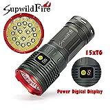 Taschenlampe 50000lm Jamicy® 15 x XM-L T6 LED Power & Modus Digitalanzeige Jagd Taschenlampe Wiederaufladbare Wasserdichte Beleuchtung Entfernung 200-500 m (Rot)