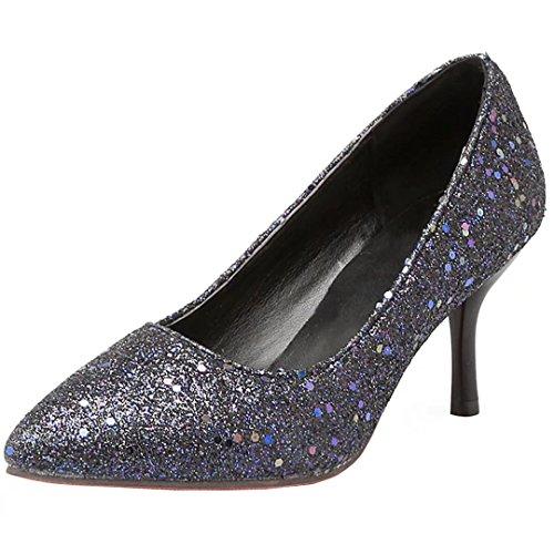 AIYOUMEI Damen Glitzer Spitz Stiletto High Heels Pumps mit 7.5cm Absatz Pailletten Bequem Schuhe