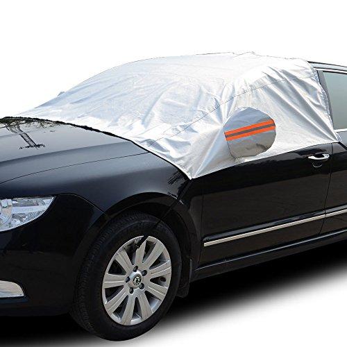 Tofern Wasserdicht Auto Obere Abdeckung Frost Und Winterschutz Für Auto SUV Geschäfts Pkw Kombi - Auto - Silber