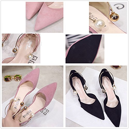Gaorui scarpe donna, piatte, estate,chiusura a pressione alla caviglia, a punta,eleganti Rosa
