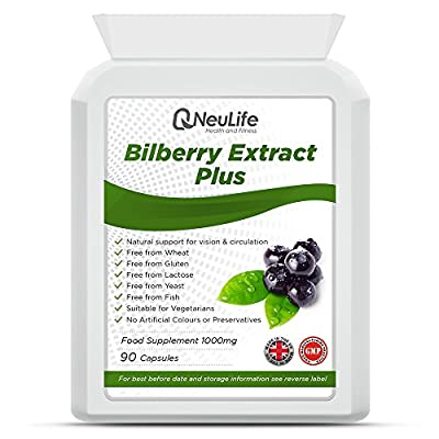 Bilberry Extract Plus 1000mg - 90 Capsules - by Neulife Health and Fitness from Neulife Health and Fitness
