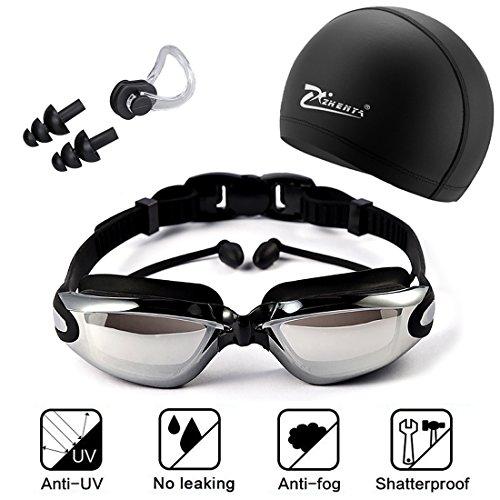 Gafas de natación, incluir Enchufe de oído + Gorro de baño + Clip de nariz, Protección UV y Recubrimiento anti niebla Lente, Ajustable, para hombres Mujeres, Adultos, Niños de la Juventud, Niño