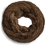 Grin&Bear warmer weicher Loop Schal mit Strick Muster und weichem Fleece Innenfutter A21-5