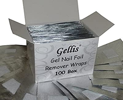 Gellis - 100 Box wraps, UV Gel Polish Soak Off Embossed Foil Removal Wraps with Foam Pads, Nail Art, Acrylic.
