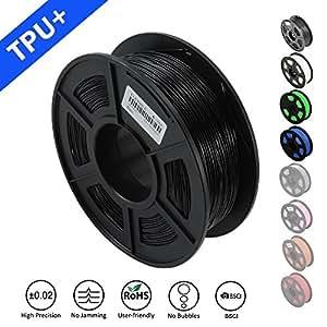 SUNLU 1.75mm flexibler TPU 3D Drucker Filament, Maßgenauigkeit +/- 0.02 mm, 1KG Spule, 1.75 mm, TPU schwarz