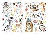 dekodino Sticker mural Aquarelle animaux de la forêt sur la prairie déco