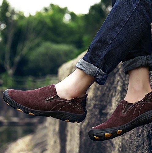 Yiiquan Uomo Casuale Scarpe Piatte Scarpe da Lavoro e Trekking Moda Scarpe Sportive Vino Rosso