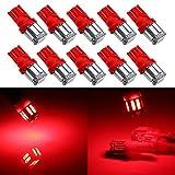 Grandview 350Lumen Blu T10 194 168 921 W5W 7014 10-SMD Lampadine a LED per interni auto, camion, luci di ricambio per targa anteriore e posteriore, marcatore laterale, tettuccio, lampadine a LED 12V DC, confezione da 10