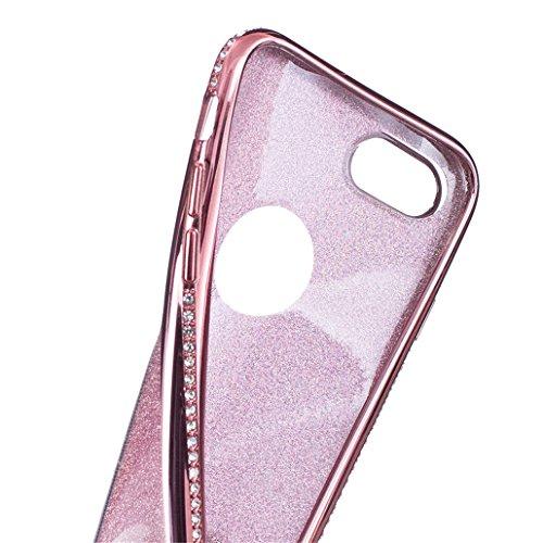 Cover rigida trasparente con liquido e brillantini, effetto 3D, per iPhone 6S Plus (2015) e iPhone 6Plus (2014) da 5,5 pollici, con 1 pellicola salvaschermo e 1 pennino capacitivo B Diamonds Rose Golden