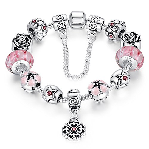 A TE® Charm Bracelet Enamel Flowers Glass Beads White Gold Alloy with Safety Chain for Women #JW-B0107 (Pink)