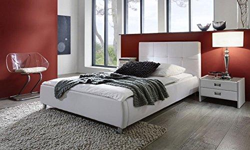 SAM Polsterbett 90x200 cm Zarah in weiß, mit gepolstertem abgestepptem Kopfteil, Chromfüße, als Wasserbett verwendbar