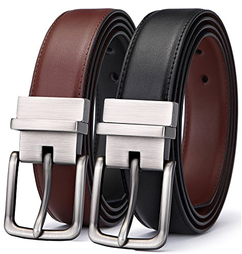 BULLIANT Hombre Cinturón, Cuero Cinturón Reversible,Tamaño Ajuste